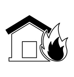 House insurance with fire isolated icon vector