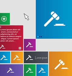 Judge or auction hammer icon sign buttons modern vector