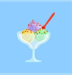 Mixed ice cream in a glass bowl vector