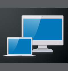 notebook and monitor vector image vector image