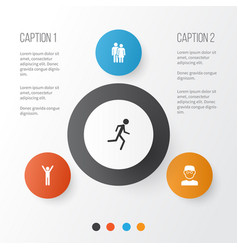 person icons set collection of running happy vector image vector image