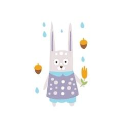 Rabbit in violet clothes under rain in autumn vector