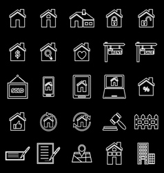 Real estate line icons on black background vector