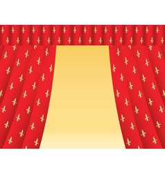 Red theatre curtain vector
