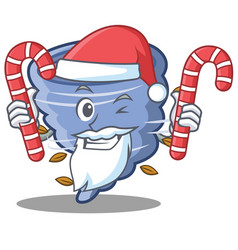 Santa with candy tornado character cartoon style vector