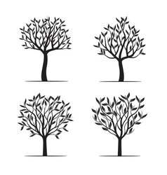 set black trees with leafs vector image vector image