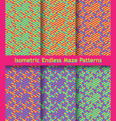 Set of colorful isometric maze patterns seamless vector