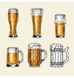 Set of icons full glass beer vector image vector image