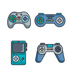 set video game entertaining items symbols vector image