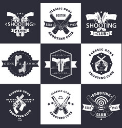shooting club guns and ammo vintage emblems vector image vector image