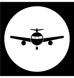 Simple front view airplane isolated black icon vector