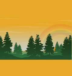 spruce and rainbow landscape silhouettes style vector image