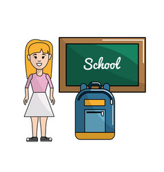 Student with board and backpack tool vector