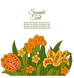 Summer postcard cover summer green orange yellow vector
