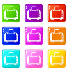 Toaster icons 9 set vector