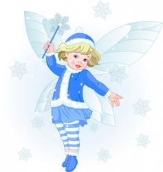 winter baby fairy vector image vector image