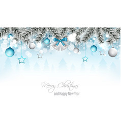 Winter landscape banner with silver bells vector