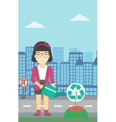 Woman watering tree with recycle sign vector image vector image