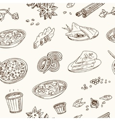 Hand drawn seamless pattern indian cuisine vector