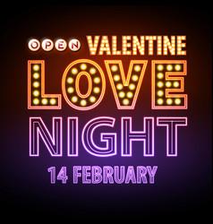 Neon sign love night happy valentines day vector