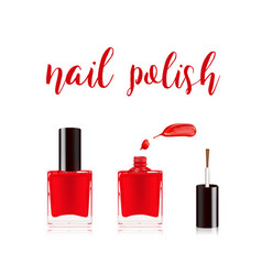 Red nail polish in bottle with the bottle lid on vector