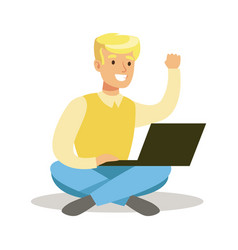 Guy sitting on the floor with lap top part of vector