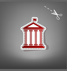 Historical building with flag  red icon vector