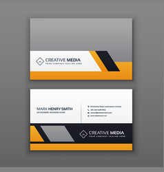 Modern business card design with yellow and gray vector