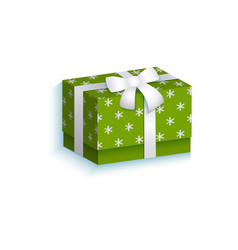 Flat present gift box with white ribbon bow vector