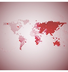 Abstract red mosaic world map vector