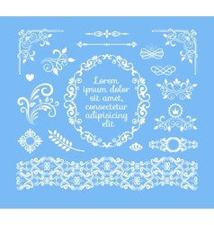 Vintage floral ornamental elements and frames vector
