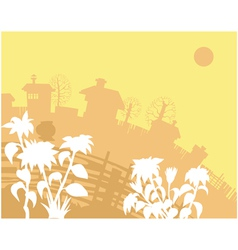 background yellow houses vector image