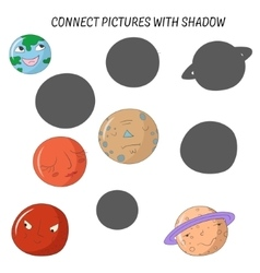 Educational game connect pictures with shadow vector