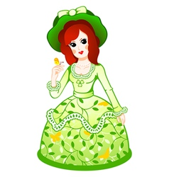 Floral retro doll vector