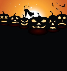 Pumpkins at night vector