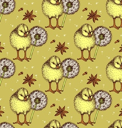 Sketch chiken and dandelion pattern vector image