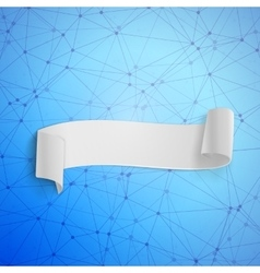 Paper ribbon banner on wireframe technology vector