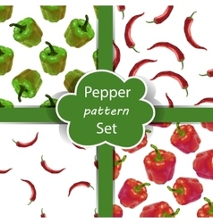 Seamless pattern set with peppers vector