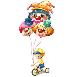 A young boy riding a bike with three balloons vector image