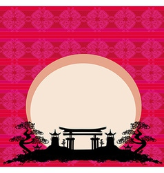 Abstract card with Asian buildings vector image vector image
