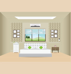 Bedroom with double bed and furniture vector