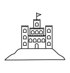 Black silhouette with sand castle vector
