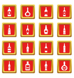 bottle forms icons set red vector image