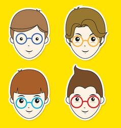 Boy Hair Style Sticker Set vector image vector image