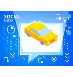 Bright speech bubble and car on blue backgro vector