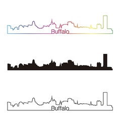 Buffalo skyline linear style with rainbow vector