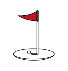 Color silhouette cartoon golf flag with hole and vector