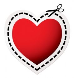 Cut out heart red vector