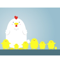 Cute big fat white hen and chicken vector