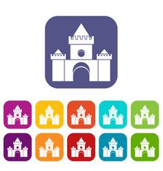 Fairytale castle icons set vector